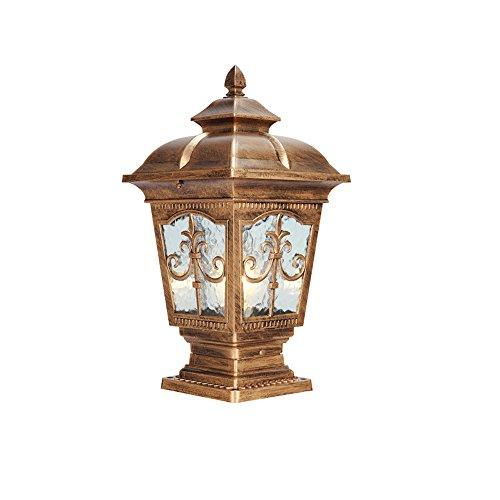 52 Wall Mount Lantern - KMYX Post Bollard E27 Traditional Black IP55 Outdoor Garden Lamp Lantern Light Decking Patio Pathway Pillar Lantern Light Waterline Glass (Color : Bronze, Size : Height 52cm)
