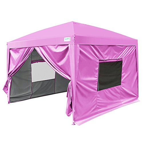 Quictent Privacy 8×8 EZ Pop Up Canopy Tent Pink Party Tent with Sidewalls and Mesh Windows Waterproof
