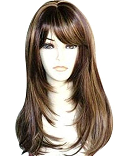 Kalyss Brown with Highlights Yaki Synthetic Women's Wig With Hair Bangs Centre Parting Long Straight Layered Heat Resistant Synthetic Hair Wig for Women (brown with highlights color)