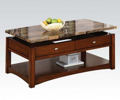 1PerfectChoice Jas 3Pcs Cherry Lift Top Coffee Table Set with Marble Top