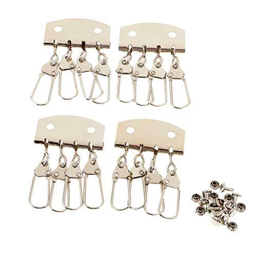 NATFUR 4pcs Metal Key Holder Lobster Clasps Clips Key Ring Hook Keychain Key Organizer Novelty Key-Chain Cute Beautiful Great Lovely | Color - 4 Teeth Silver #1