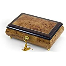 Classic Style 18 Note Light Burl-Elm With Rosewood Border Musical Jewelry Box - You've Gotta Be A Football Hero