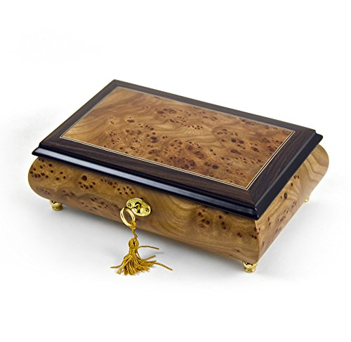 Classic Style 18 Note Light Burl-Elm With Rosewood Border Musical Jewelry Box - Rock of Ages - Christian Version by MusicBoxAttic