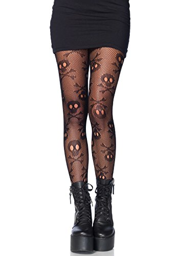 Leg Avenue Womens Skull and Crossbone Fishnet Tights -