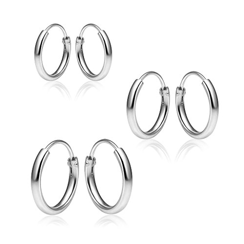 (Sterling Silver 3 Pair Set Tiny Small Polished Round Endless Hoop Earrings Lightweight Unisex, 10mm, 12mm,14mm)