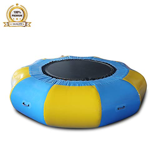 Union sports Inflatable 0.9mm PVC Water Trampoline with Electric Air Pump,Inflatable Water Bouncer Jumping Bed Summer Toy for Pool Water Game 4M/13.12FT