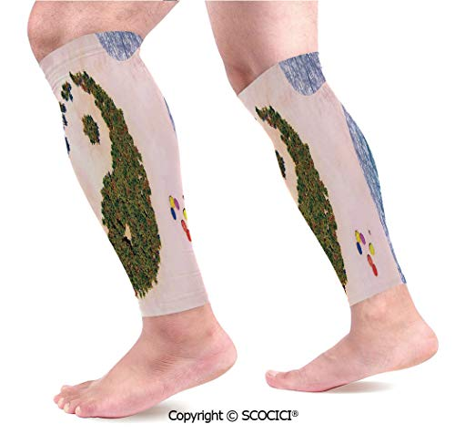 Flexible Breathable Comfortable Leg Skin Protector Sleeve Aerial View of A Forest Shaped Like Yin Yang Symbol in Tropical Island Coastal Calf Compression Sleeve