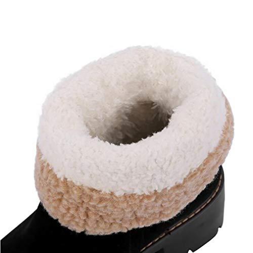 Esquí Rojo 35 Cálido color De Tamaño zapatos Botas Nieve negro Gran Invierno Fondo Mujer Tamaño Para Negro Impermeable Inferior 7Op1U