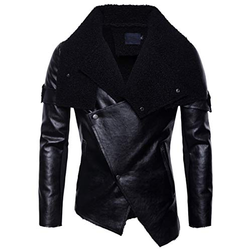 - AOWOFS Men's Faux Leather Jacket Fur Collar Irregular Hem Winter Fluff Slim Motorcycle Coat Black