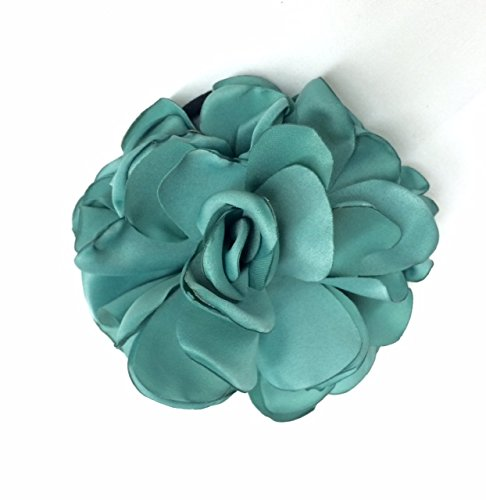 Beautiful Layered Soft Satin Blue Haze Flower Burned Edges Satin Rose/Hair Flower/Brooch Pin/Fabric Flower/Applique Handmade/Floral Supply/Embellishment Selling Per Piece, Available in 6 Colors
