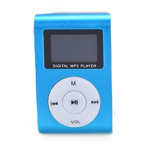 Blue Mini MP3 Player Clip USB FM Radio LCD Screen Support for 32GB Micro SD (Digital Case Player Creative)