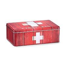 First Aid - Caja medicinal (metal), color rojo, rojo / blanco, ca. 20 x 13 x 6,8 cm