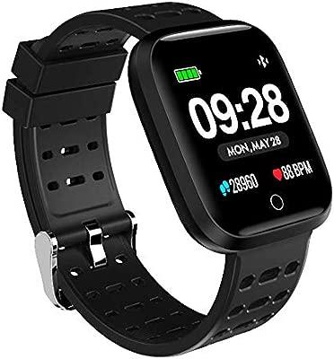 Azorex SmartWatch Multifunción Reloj Inteligente Cuadrado Impermeable IP67, Pulsera Actividad Control Remoto Correa Silicona Negro
