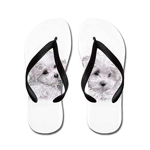 CafePress Bichon Frise - Flip Flops, Funny Thong Sandals, Beach Sandals Black