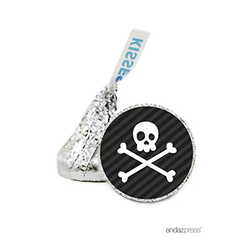 Andaz Press Chocolate Drop Labels Stickers, Birthday, Pirate Skull and Crossbones, 216-Pack, for Hershey's Kisses Party Favors, Gifts, Decorations (A Pirates Kiss)
