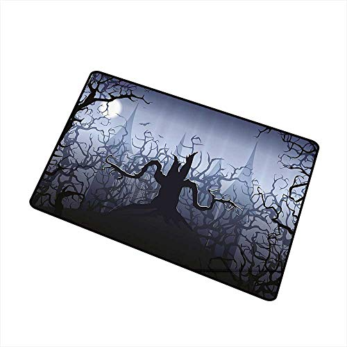 Axbkl Outdoor Doormat Halloween Decorations Darkness in Forest Swirling Spooky Branches Nature Trick or Treat W35 xL47 Non-Slip Door mat pad Machine can be Washed Grey Black -