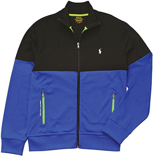 Polo Ralph Lauren Men's Two-Toned Interlock Jacket, Polo Black/Pacific Royal, Large