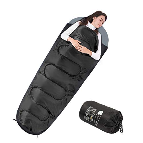 Display4top Premium Lightweight Mummy Sleeping Bag with Compression Sack - Portable, Waterproof,Comfort - Great for Outdoor Camping, Backpacking & Hiking (Black)