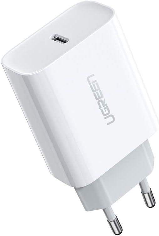 UGREEN 18W Cargador USB C Power Delivery 3.0 Carga Rápida para iPhone Se 2020 11 XR X XS Max 8 iPad Pro Airpods Pro, Cargador Móvil Rápido QC 4.0 3.0 para Samsung S10 S9 S8 Xiaomi Redmi Note 9 Redmi 9