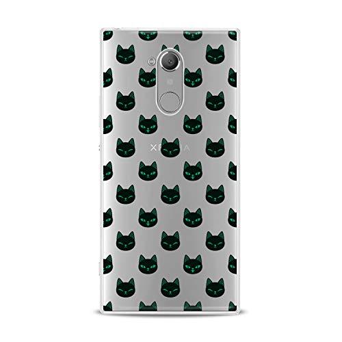 Lex Altern TPU Case for Sony Xperia 1 L3 L2 XZ3 XZ2 Premium XA3 XA2 Black Feline Faces Slim fit Clear Green Gift Soft Emotions Flexible Girls Design Smooth Cover Animal Print Lightweight Woman Kid -