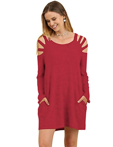 Tea Collection Pullover (Zhaoyun Womens Sexy Cut Out Shoulder Tunic Casual Sweatshirt Dress with Pokets Red)