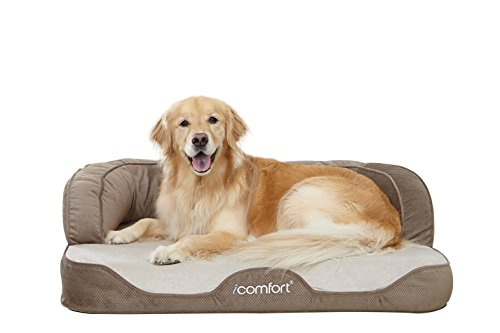 iComfort Sleeper Sofa Pet Bed with Dual Action Cool Effects Gel Memory Foam, Large, Tan