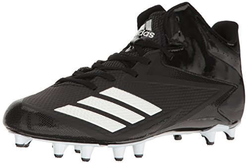 adidas Performance Men's 5-Star Mid Football Shoe, Black/White/Metallic Silver, 12 Medium US