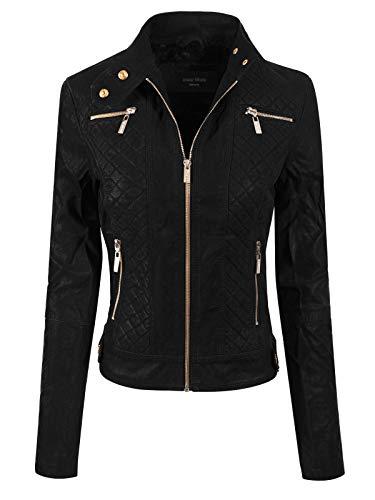 (Instar Mode Women's Elegant Faux Suede Zip Up Moto Biker Jacket Black L)