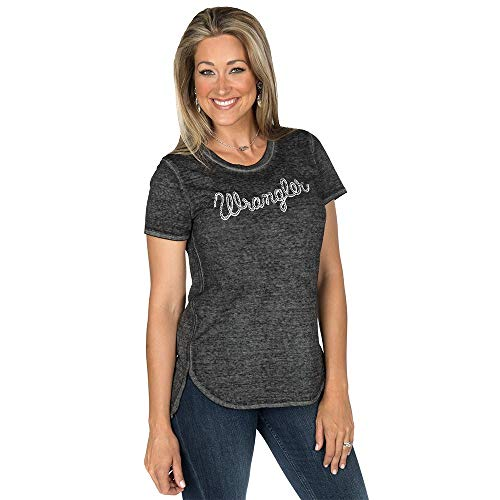 Ladies Logo Tee (Wrangler Apparel Womens Ladies Logo Tee S Charcoal)