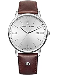 Men's 'Eliros' Quartz Stainless Steel and Leather Casual Watch, Color Brown (Model: EL1118-SS001-110-1)