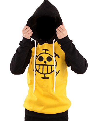 Wraith of East Anime One Piece Cosplay Clothes Adult Trafalgar Law Hoodie (Large, Yellow)