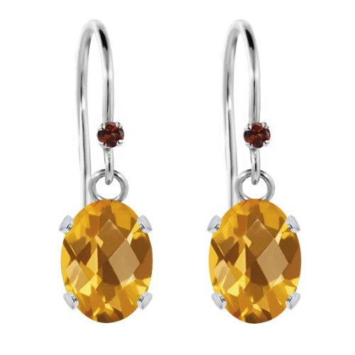 1.43 Ct Oval Checkerboard Yellow Citrine Red Garnet 925 Sterling Silver Earrings (Checkerboard Yellow)