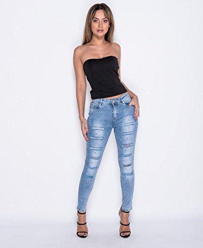 Blue para amp;Ayat Bleach Momo Vaqueros Fashions mujer Z6Pw67xn