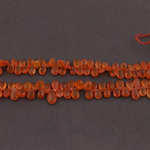 2 Strand Natural Carnelian Faceted Pear Drop Briolettes - Cornelian Pear Drop Beads 8mmx7mm-13mmx8mm 10.5 Inches by ()
