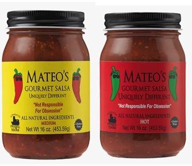 Mateos Gourmet Salsa, Medium & Hot 16 oz (Variety Pack) by Mateo's