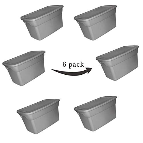 Large Storage Tote Container Box with Lid & Handles - Plastic Heavy Duty Closeable Bin - Case of 6, 30 Gallon Capacity, Reusable for Move Closet Desk Shelves Clothes Books Basement - Grey ()