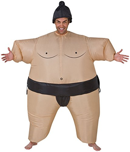 UHC Sumo Wrestler Inflatable Outfit w/ Wig Funny Theme Halloween Fancy Costume, (Woman Wrestler Costume)