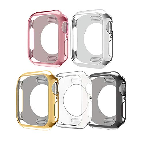 ISENXI Compatible for Apple Watch Case Series 4 40mm,5 Pack Soft Plated TPU Protective Case Scratch Resistant Cover Replacement with Apple Watch Series 4 Version 2018 (5Pack, 40MM)