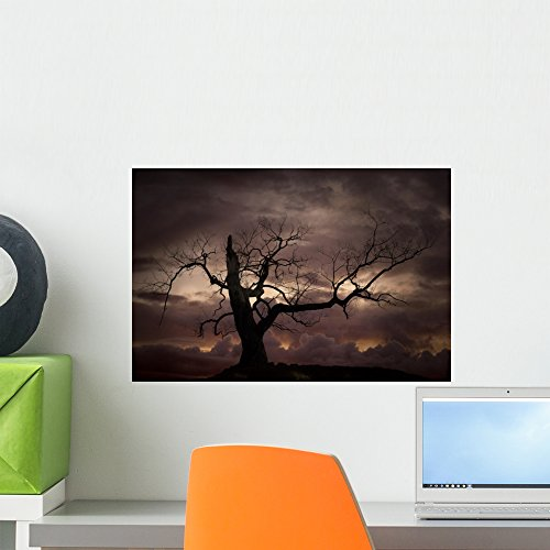 Wallmonkeys Silhouette Bare Tree against Wall Mural Peel and Stick Graphic (18 in W x 12 in H) WM123135 -