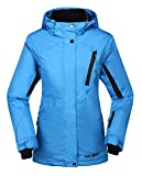 Krumba Women's Sportswear Outdoor Waterproof Windproof Hooded Ski Jacket Blue US Size L