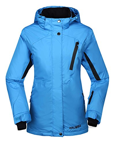 Krumba Women's Sportswear Outdoor Waterproof Windproof Hooded Ski Jacket Blue US Size XL (Jacket Insulated Ski)