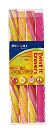 Westcott Twist Erasers, 4 Pack of Peace Sign, Owl, Cupcake and Sunshine