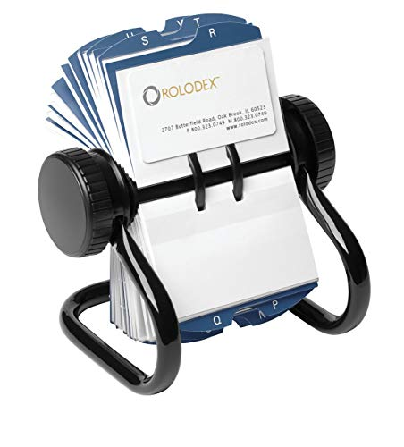 Address Index - Rolodex Open Rotary Business Card File with 200 2-5/8 by 4 inch Card Sleeve and 24 Guide, 400-Card Cap, Black (67236)