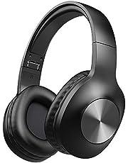 Bluetooth Kopfhörer Over Ear, LETSCOM 100 Stunden Spielzeit kabellos Bluetooth Kopfhörer mit Hi-Fi Sound, Mikrofon, tiefer Bass, und Memory Ohrpolster für Reise Arbeit Handy -Schwarz