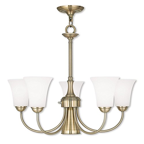 Livex Lighting 6465-01 Ridgedale - Six Light Dinette Chandelier, Antique Brass Finish with Satin Opal White Glass (White Antique Transitional Chandelier)