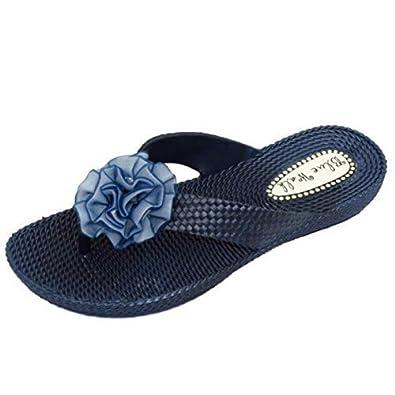 HeelzSoHigh Damen Flach Marineblau Zehensteg Sandalen Flip Flop Strand Zum reinschlüpfen Blumenschuhe UK 3-8 - Marine, EU 36