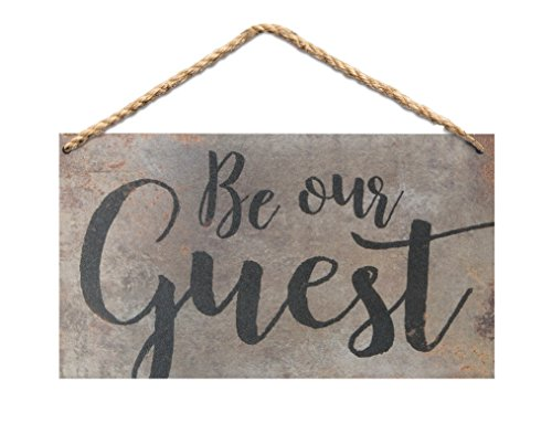 P. GRAHAM DUNN Be Our Guest Script Wood 6 x 3.5 Printed Overlay Mini Wall Hanging Plaque - Guest Sign