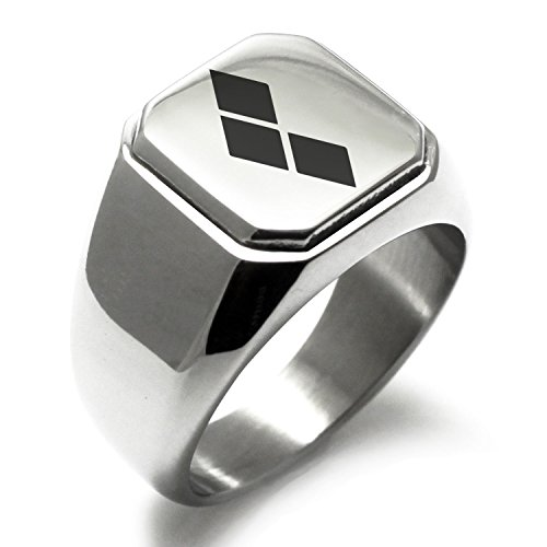 Stainless Steel DC Harley Quinn Logo Engraved Square Flat Top Biker Style Polished Ring, Size 7