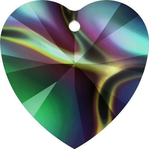 6228 Swarovski Pendant Xilion Heart Crystal Rainbow Dark | 18mm - Pack of 1 | Small & Wholesale Packs | Free Delivery Heart Briolette Pendant