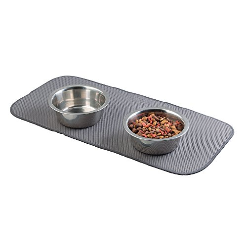 mDesign Premium Quality Microfiber Polyester Pet Food and Water Bowl Feeding Mat for Cats - Ultra Absorbent Reversible Placemat - Folds for Compact Storage - Small, Pewter/Ivory